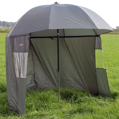 Ultra Fishing Shelter 2.2m Umbrella Brolly Bivvy w/ Zip Sides Windows V2
