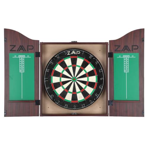 OPEN BOX ZAAP Home Darts & Dartboard Set In Cabinet