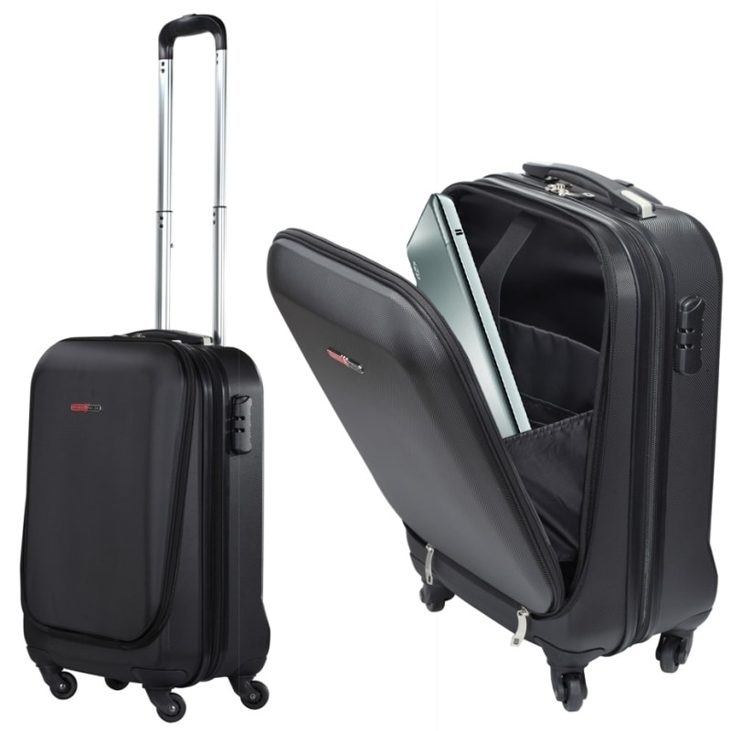 "Swiss Case 20"" ABS 4 Wheel Suitcase W/ Zip Pocket #"