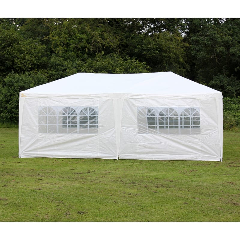 Palm Springs 10' x 20' White Canopy Party Tent with 6 Sidewalls