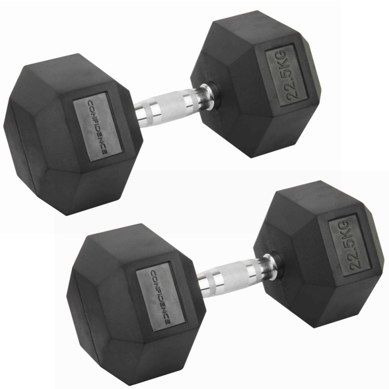 Confidence Fitness 22.5kg Rubber Hex Dumbbell Set