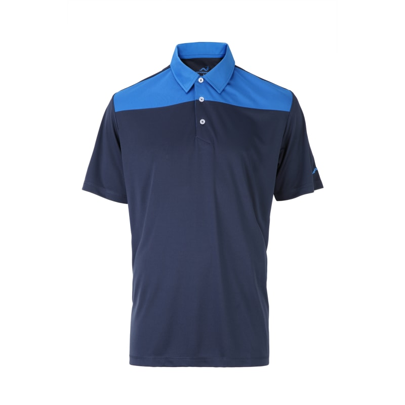 Woodworm Panel Golf Polo Shirts - Blue