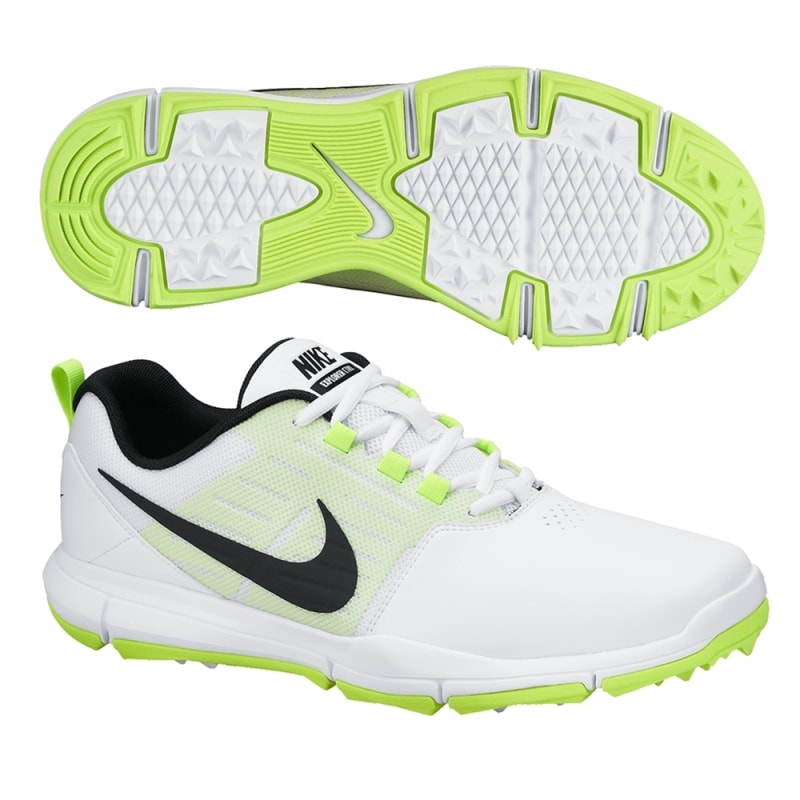 Nike Explorer Golf Shoes - White / Black / Volt