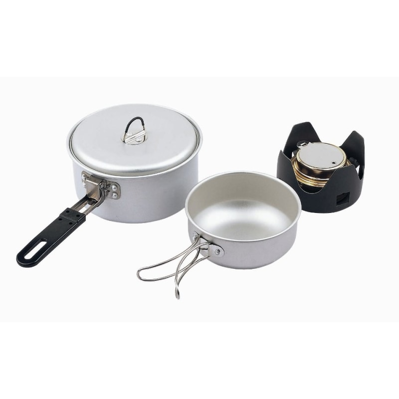 5pc Cook Set inc Burner Silver by Camping.co.uk