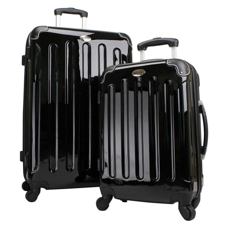 Swiss Case 4 Wheel 2Pc Hard Suitcase Set Black