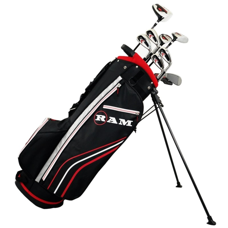 Ram Golf Accubar 1 Inch Longer 12pc Golf Clubs Set - Graphite Shafted Woods, Steel Shafted Irons - Mens Right Hand - Stiff Flex #