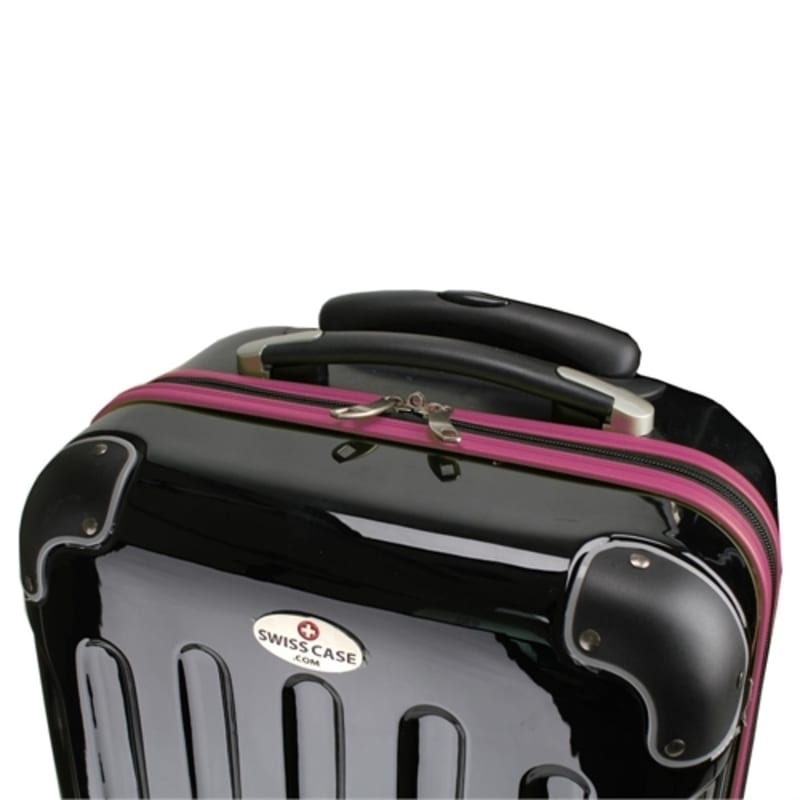 OPEN BOX Swiss Case 4W 2pc Suitcase Set Black / Purple #2