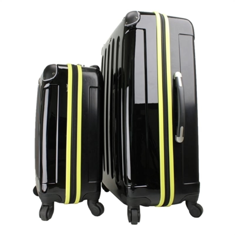 OPEN BOX Swiss Case 4W 2pc Suitcase Set Black / Yellow #4