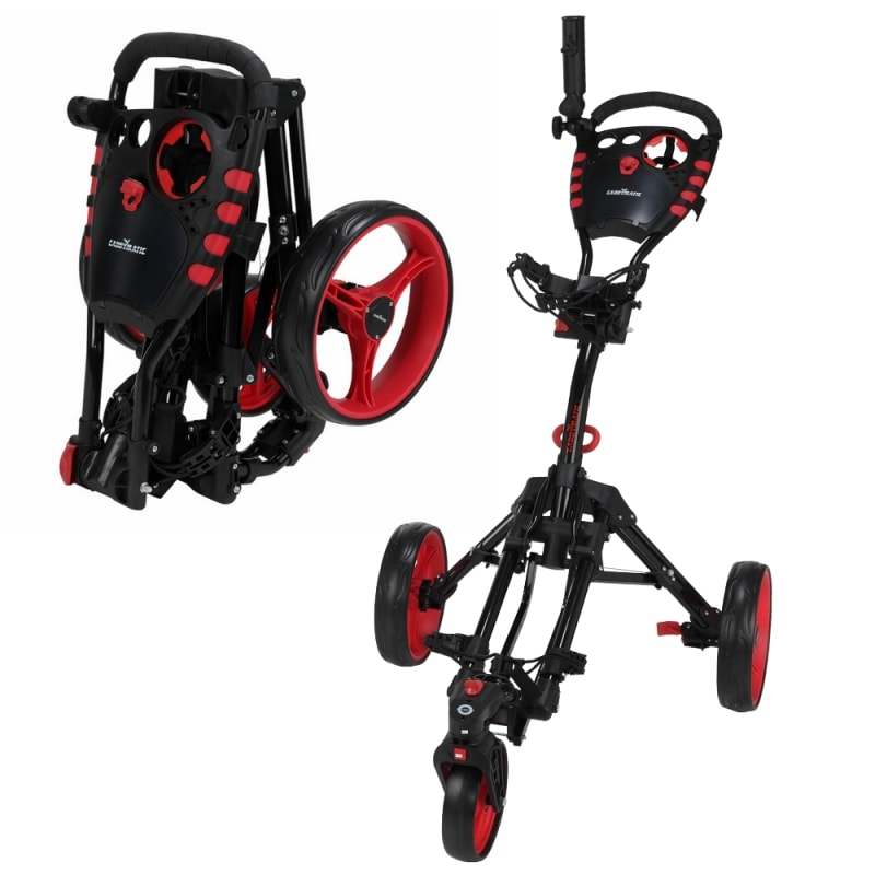 EX-DEMO Caddymatic Golf 360° SwivelEase 3 Wheel Folding Golf Trolley Black/Red