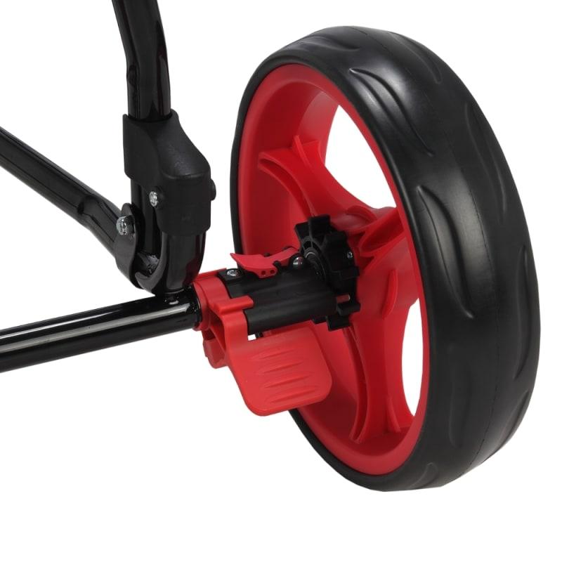 OPEN BOX Caddymatic Golf Continental 3 Wheel Folding Golf Push/Pull Cart Black/Red #3