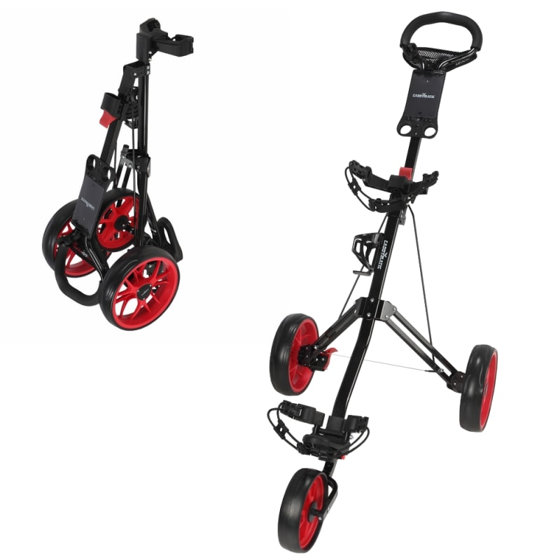 Caddymatic Golf Pro Lite 3 Wheel Golf Trolley Black/Red