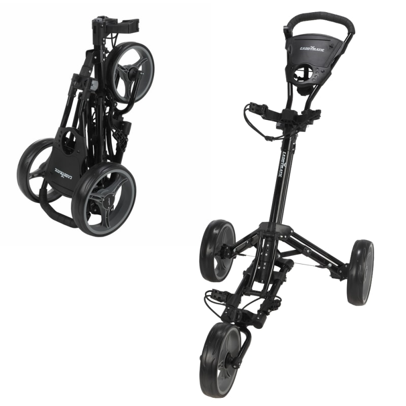 Caddymatic Golf X-Lite One-Click Folding Pull/Push Golf Trolley Black