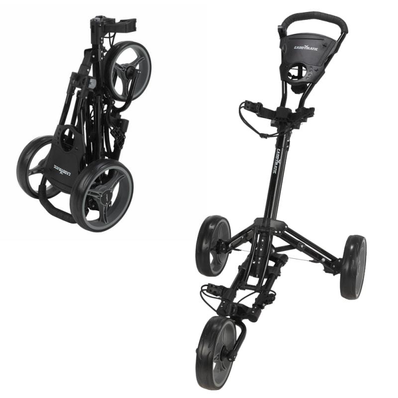 Caddymatic Golf X-Lite One-Click Folding Pull/Push Golf Cart Black