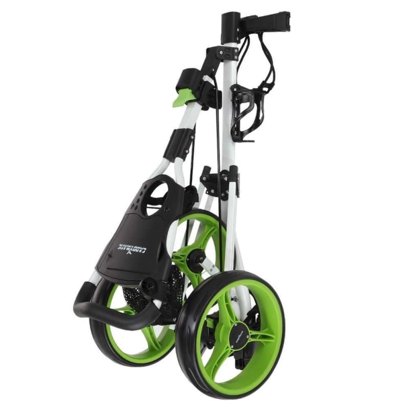 OPEN BOX Caddymatic Golf X-TREME 3 Wheel Push/Pull Golf Cart with Seat White/Green #1