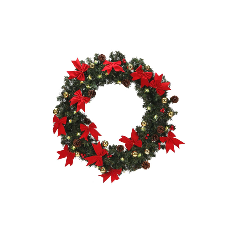 "Homegear 30"" Decorated Christmas Wreath W/ Lights #2"