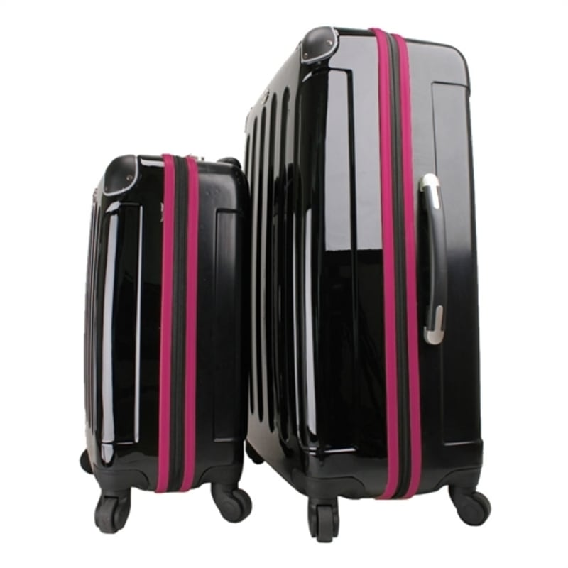 OPEN BOX Swiss Case 4W 2pc Suitcase Set Black / Purple #4