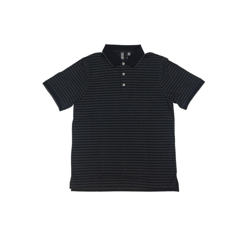 Ashworth Golf Mens Black w/Grey Stripes Polo Shirt - Black Medium