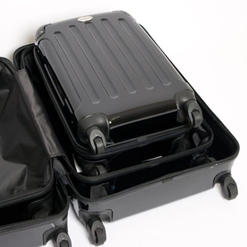 OPEN BOX Swiss Case Black 4 wheel 3 Piece Hardcase Luggage Set #4