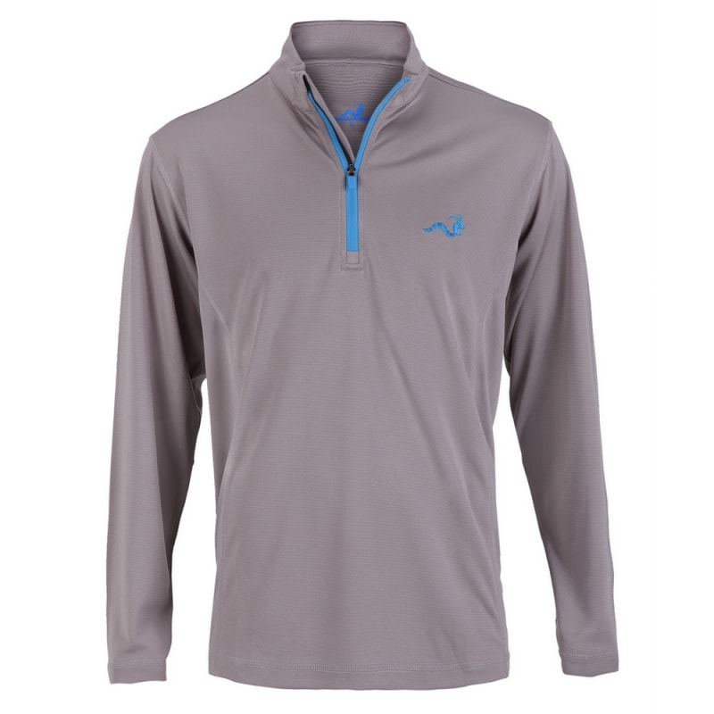 Woodworm 1/4 Zip Golf Pullover - Grey/Sky Blue
