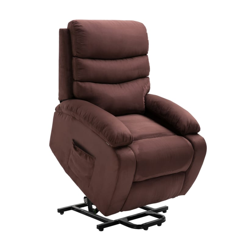 Homegear Microfiber Power Lift Electric Recliner Chair with Massage, Heat and Vibration with Remote - Brown