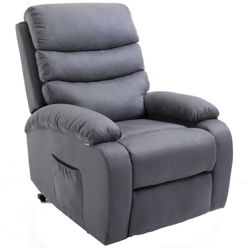 Homegear 2-Remote Microfiber Power Lift Electric Recliner Chair V2 with Massage, Heat and Vibration with Remote - Charcoal #4