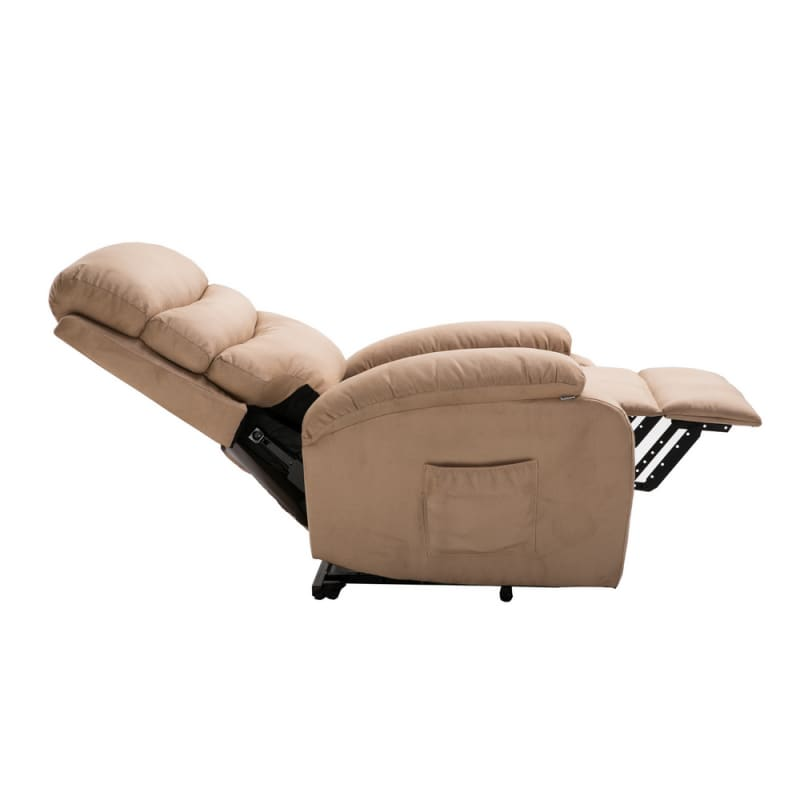 Homegear 2-Remote Microfiber Power Lift Electric Recliner Chair V2 with Massage, Heat and Vibration with Remote - Taupe #2