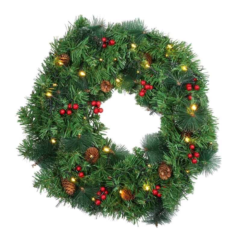 Homegear Christmas 30 Decorated Christmas Wreath With Lights Green Spruce With Berries And Pinecones