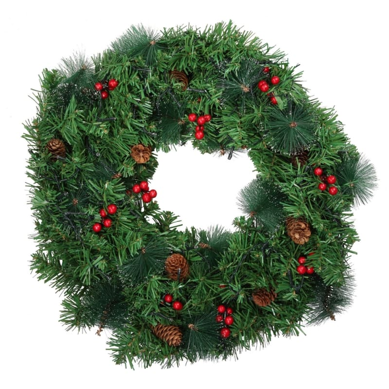"Homegear Christmas 24"" Decorated Christmas Wreath with Lights - Green Spruce with Berries and Pinecones #1"
