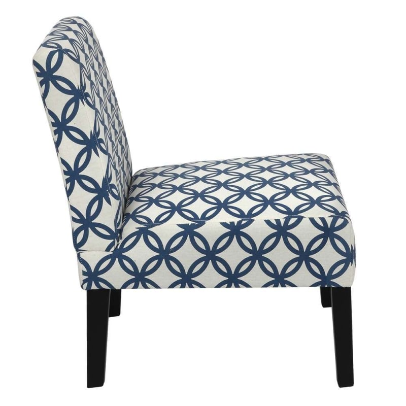 Homegear Home Furniture Accent Armless Chair - Contemporary Designs - Blue Intersecting Circles #2