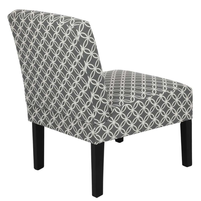 Homegear Home Furniture Accent Armless Chair - Contemporary Designs - Grey Intersecting Circles #3