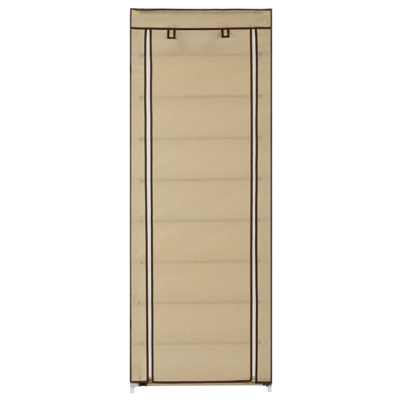 Homegear Large Free Standing Fabric Shoe Rack / Storage Cabinet Cream #