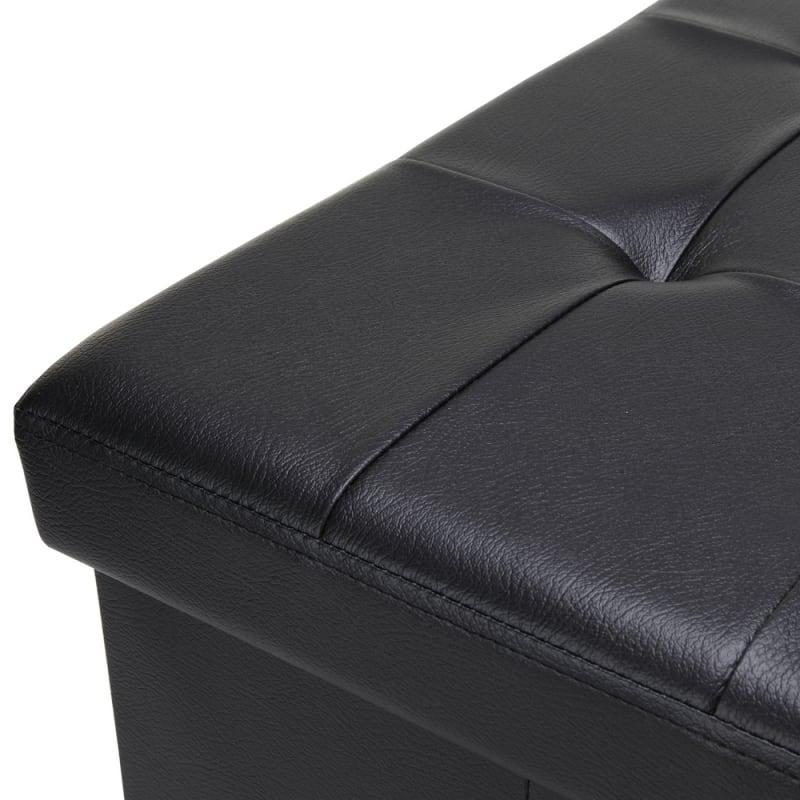 "Homegear 30"" Folding Storage MKII Ottoman / Footstool Black #2"