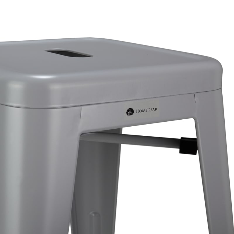 Homegear 4 Pack Stackable Metal Kitchen Stools - Silver #3