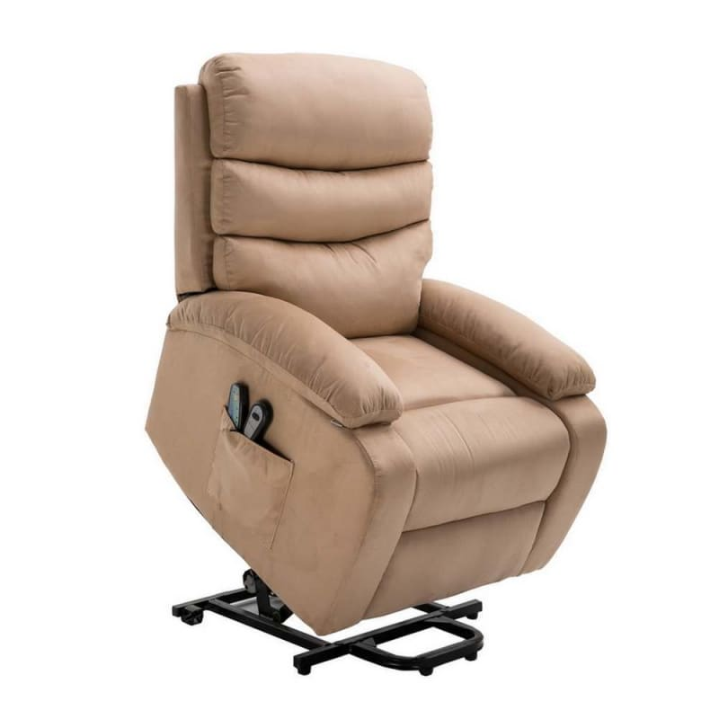 OPEN BOX Homegear Microfiber Power Lift Electric Recliner Chair with Massage, Heat and Vibration with Remote - Taupe