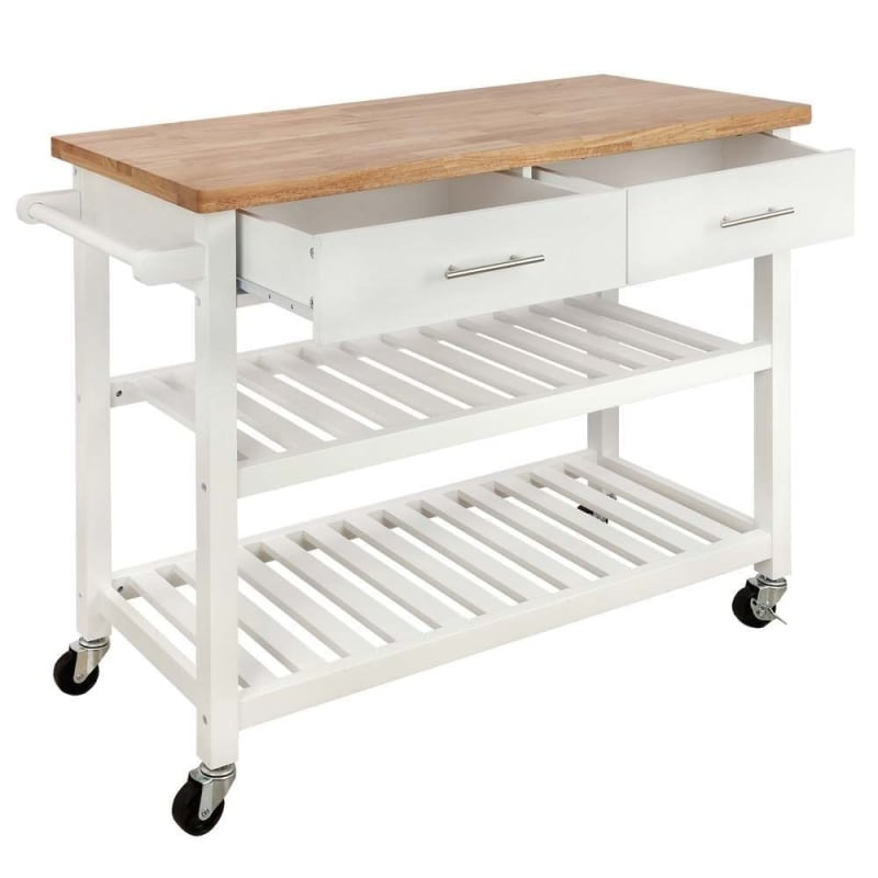 Open Box Homegear Open Storage V3 Kitchen Cart With Shelves Island On Wheels Golf Outlets Of America Golf Outlets Of America