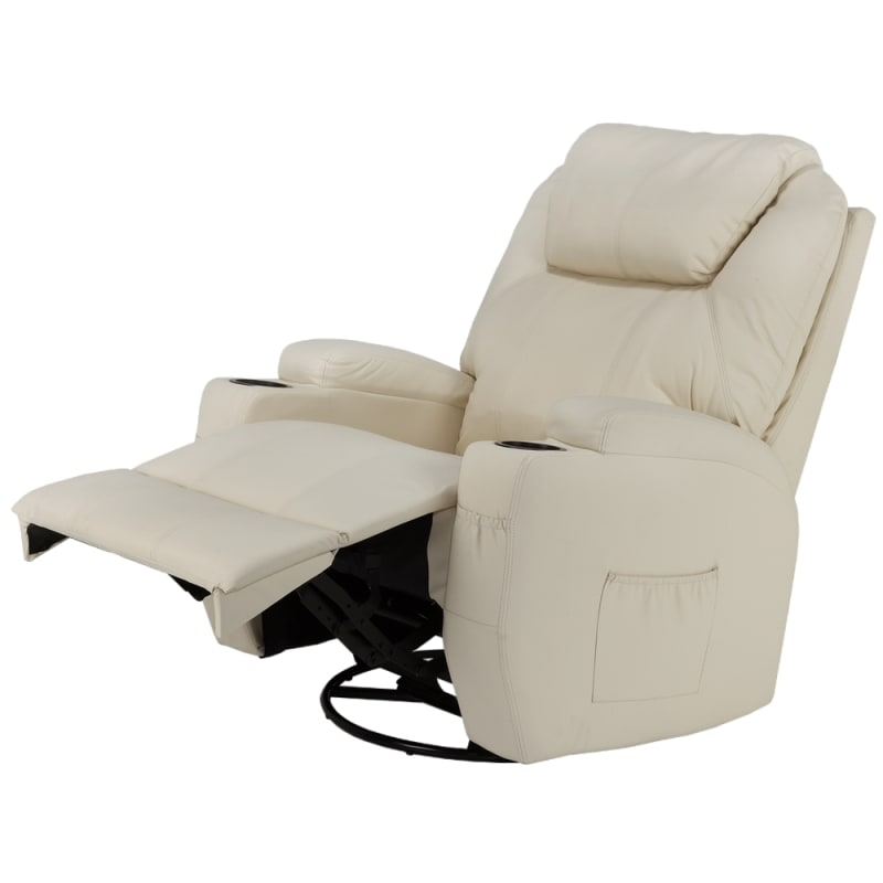 OPEN BOX Homegear Recliner Chair with 8 Point Electric Massage and Heat - Cream