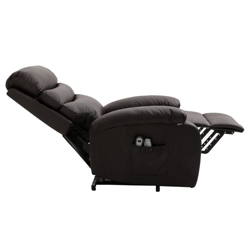 OPEN BOX Homegear PU Leather Power Lift Electric Recliner Chair with Massage, Heat and Vibration with Remote - Brown #2
