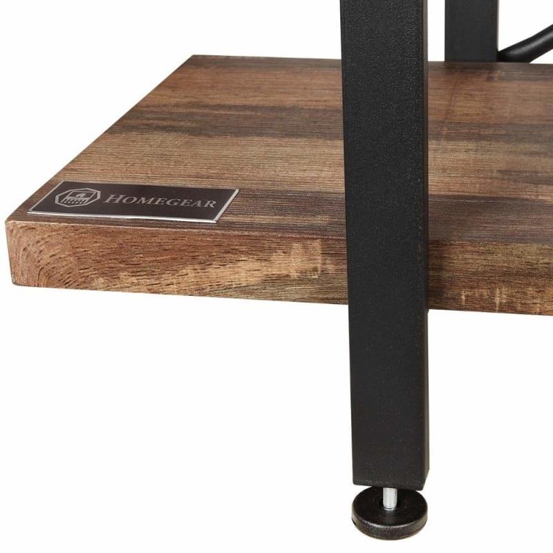 Homegear Furniture Vintage Oak Style 3-Tier Bookcase V2 - Wood Shelves with Black Iron Frame #3