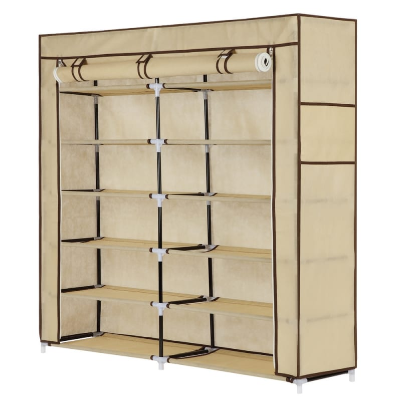 OPEN BOX Homegear XL Free Standing Fabric Shoe Rack /Storage Cabinet Cream
