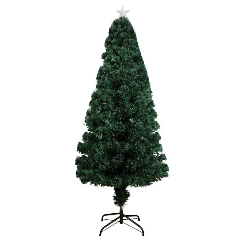 Homegear Artificial Pre-Lit Fiber-Optic Christmas Tree 4ft, Pre-lit with 135 Color Lights, Metal Stand and Star #2