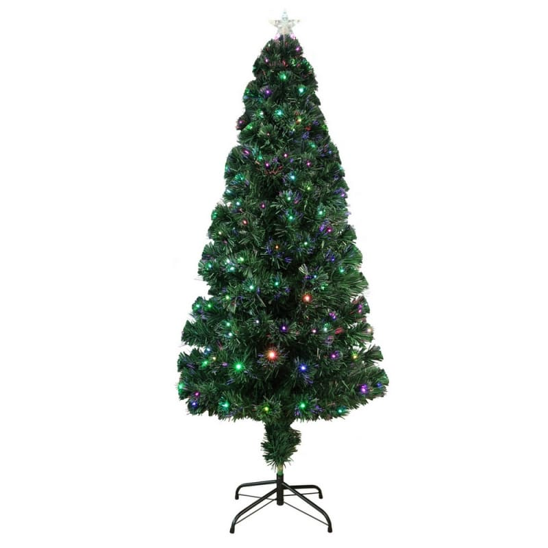 Homegear Artificial Pre-Lit Fiber-Optic Christmas Tree 5ft, Pre-lit with 175 Color Lights, Metal Stand and Star #1