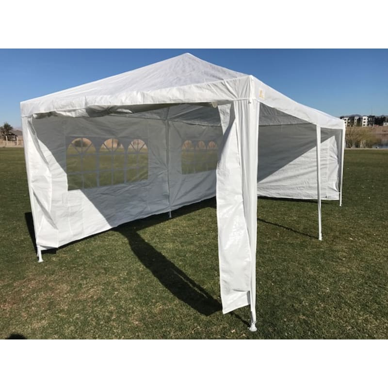 Palm Springs 10' x 20' White Canopy Party Tent with 4 Sidewalls #4