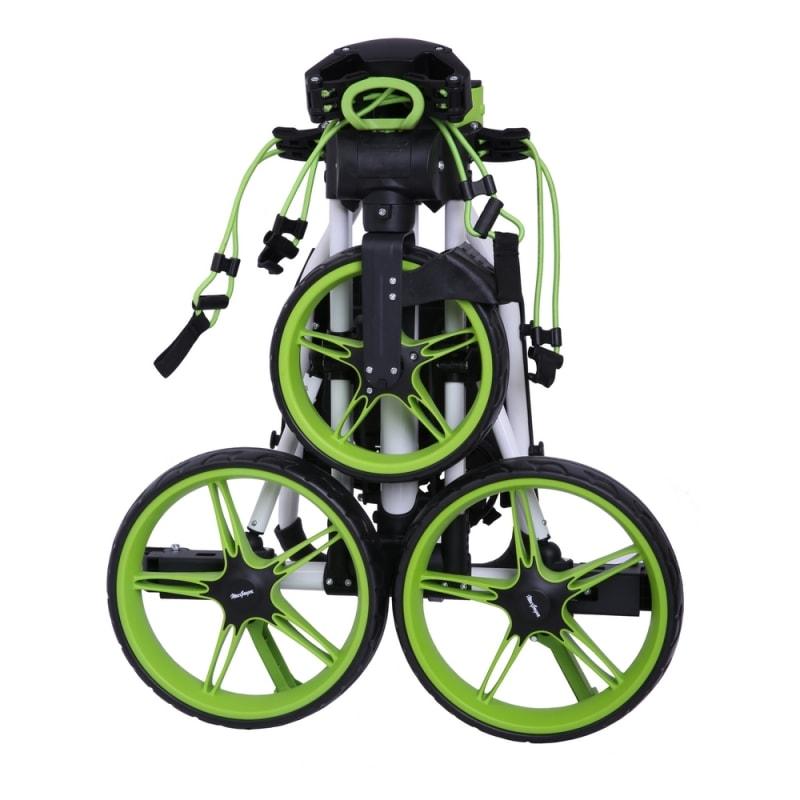 MacGregor Golf Flat Fold 3 Wheel Golf Cart - Folds Completely Flat - White/Green #