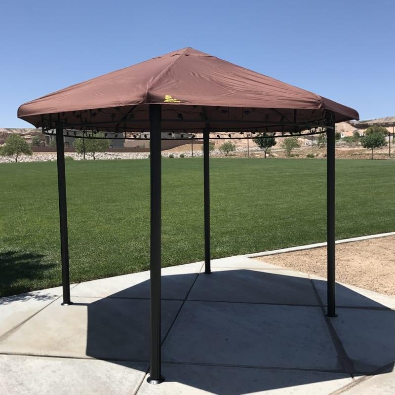 Palm Springs Garden Outdoor Patio 11.5 Ft Circular Canopy Gazebo with Steel Frame