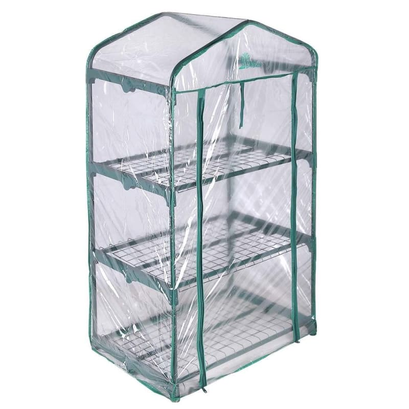 Palm Springs 3-Tier Mini Greenhouse with Cover and Roll-up Zipper Door