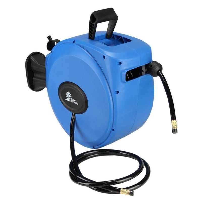 """Palm Springs 65ft Retractable Air Hose Reel - Wall Mounted with 180° Swivel - 65ft 3/8"""" Hose 300 PSi"""