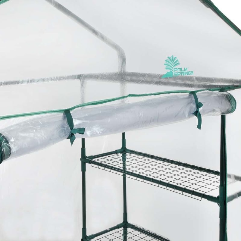 Palm Springs 6-Shelf Walk-In Greenhouse - Cover with Roll Up Zipper Door #4
