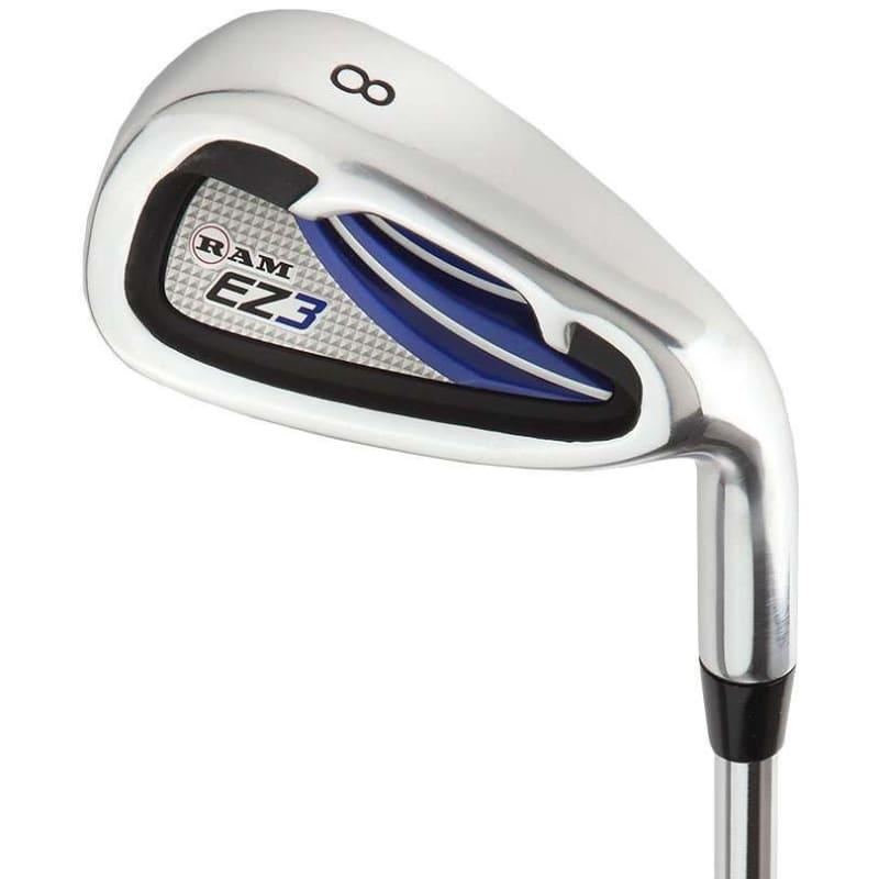 "Ram Golf EZ3 Mens Tall +1"" Golf Clubs Set with Stand Bag - Graphite/Steel Shafts #6"