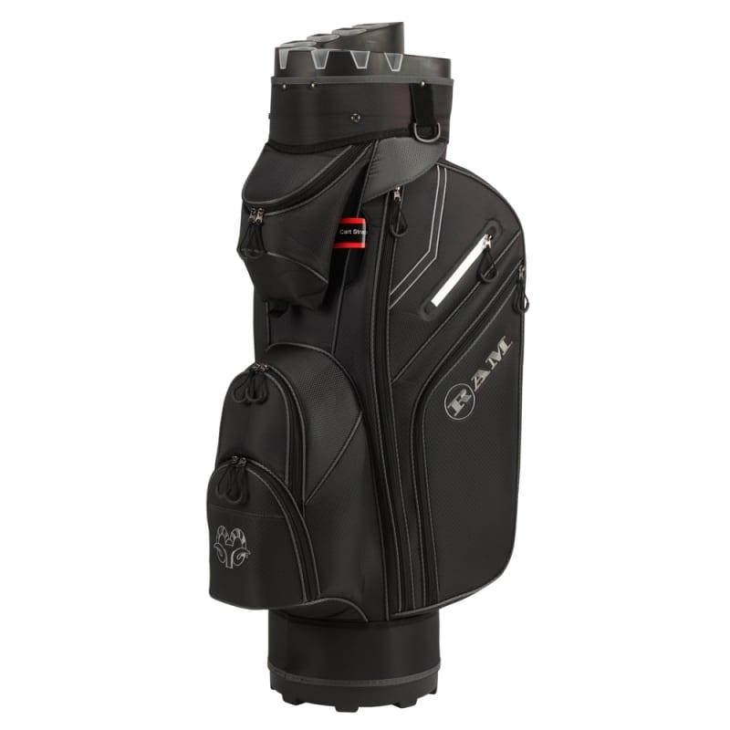 Ram Golf Premium Cart Bag with 14 Way Molded Organizer Divider Top Black Silver #