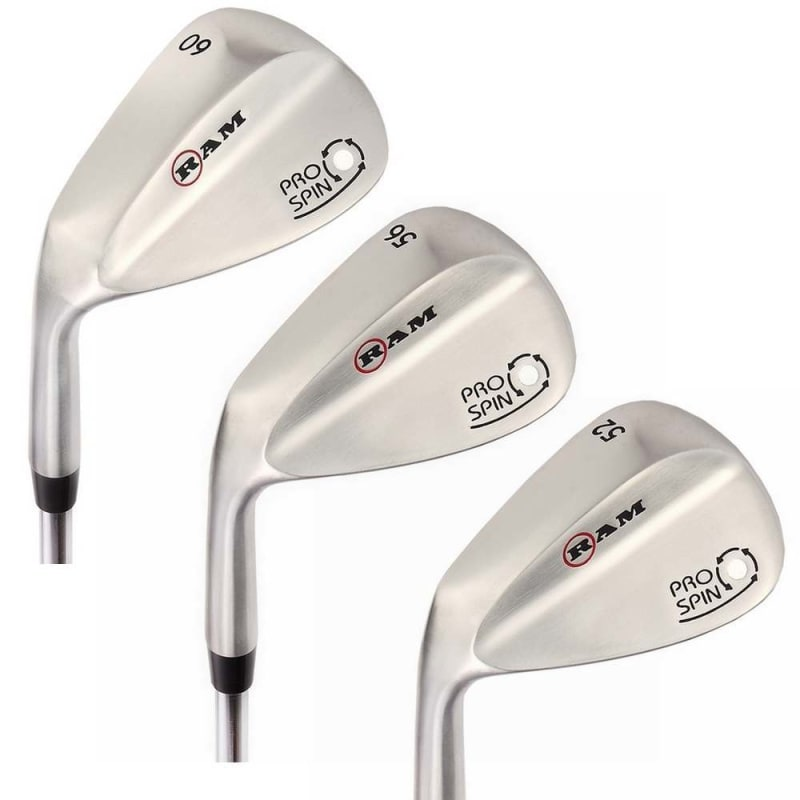 OPEN BOX Ram Golf Pro Spin 3 Wedge Set - 52° Gap, 56° Sand, 60° Lob Wedges - Mens Left Hand